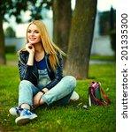 portrait of cute funny blond... | Shutterstock . vector #201335300