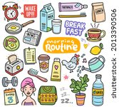 morning routine  colorful... | Shutterstock .eps vector #2013390506
