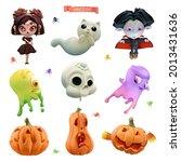 happy halloween. 3d vector...   Shutterstock .eps vector #2013431636