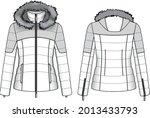 quilt dawn feather jacket parka ... | Shutterstock .eps vector #2013433793