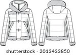 quilt dawn feather jacket with... | Shutterstock .eps vector #2013433850