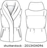 fashion quilt dawn feather vest ... | Shutterstock .eps vector #2013434096
