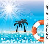 beautiful blue beach vector...   Shutterstock .eps vector #201346604