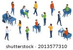 isometric people with gadgets.... | Shutterstock .eps vector #2013577310