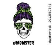 halloween mom. female skull... | Shutterstock .eps vector #2013587546