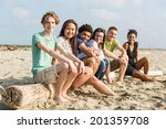 multiracial group of friends at ... | Shutterstock . vector #201359708