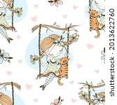 seamless pattern. a cute girl... | Shutterstock .eps vector #2013622760