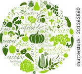 vegetable collage   Shutterstock .eps vector #201363860