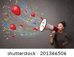 young girl having fun  shouting ... | Shutterstock . vector #201366506