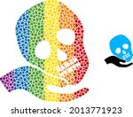 hand holds skull composition...   Shutterstock .eps vector #2013771923
