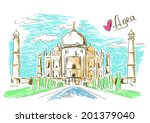 colorful sketch illustration of ... | Shutterstock .eps vector #201379040