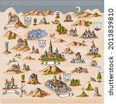 medieval european map engraving ... | Shutterstock .eps vector #2013839810