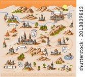 medieval european map engraving ... | Shutterstock .eps vector #2013839813