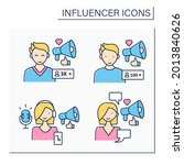 influencer color icons set.... | Shutterstock .eps vector #2013840626