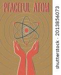 peaceful atom retro science...   Shutterstock .eps vector #2013856073