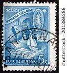 argentina   circa 1944  a stamp ...   Shutterstock . vector #201386288