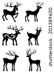 six deer set silhouettes... | Shutterstock .eps vector #201389600