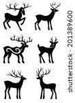 six deer set silhouettes...   Shutterstock .eps vector #201389600