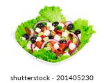 greek salad in plate. isolated... | Shutterstock . vector #201405230