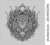 tattoo and t shirt design black ... | Shutterstock .eps vector #2014052396