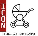 black line baby stroller icon... | Shutterstock .eps vector #2014066043