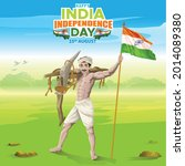 india independence greetings by ... | Shutterstock .eps vector #2014089380
