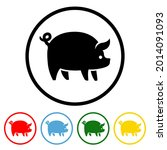 pig icon with color variations. ...   Shutterstock .eps vector #2014091093