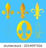 vector set of golden heraldic... | Shutterstock .eps vector #2014097336