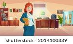 woman principal in school... | Shutterstock .eps vector #2014100339