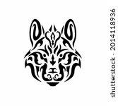 tribal wolf head logo. tattoo... | Shutterstock .eps vector #2014118936