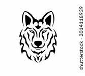 tribal wolf head logo. tattoo... | Shutterstock .eps vector #2014118939