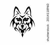 tribal wolf head logo. tattoo... | Shutterstock .eps vector #2014118960