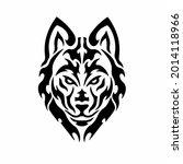 tribal wolf head logo. tattoo... | Shutterstock .eps vector #2014118966
