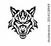 tribal wolf head logo. tattoo... | Shutterstock .eps vector #2014118969