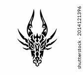 tribal dragon head logo. tattoo ... | Shutterstock .eps vector #2014121396