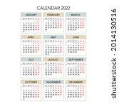 2022 year calendar. week starts ... | Shutterstock .eps vector #2014130516