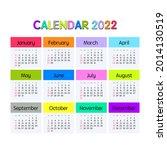2022 year calendar. week starts ... | Shutterstock .eps vector #2014130519