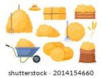 bale of hay. vector set of bale ... | Shutterstock .eps vector #2014154660