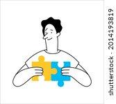 outline cartoon man connecting... | Shutterstock .eps vector #2014193819