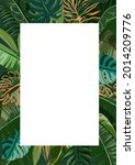 border tropical leaves. foliage ... | Shutterstock .eps vector #2014209776