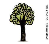 vector hand drawn tree. symbol... | Shutterstock .eps vector #201425408