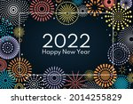 colorful fireworks 2022 happy... | Shutterstock .eps vector #2014255829