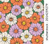 Retro Seamless Daisy Flowers...