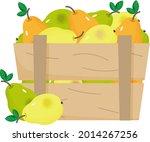 ripe pears in a wooden box....   Shutterstock .eps vector #2014267256