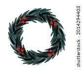 watercolor christmas frame with ... | Shutterstock .eps vector #2014294403