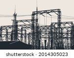 silhouette of a high voltage... | Shutterstock .eps vector #2014305023