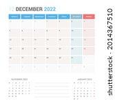 december 2022 planner calendar...   Shutterstock .eps vector #2014367510