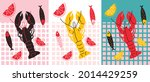 seafood with lobster  fish and... | Shutterstock .eps vector #2014429259