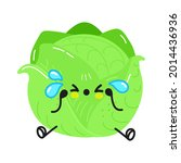 cute sad and crying cabbage ... | Shutterstock .eps vector #2014436936