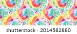 spiral tie dye shirt. rainbow... | Shutterstock .eps vector #2014582880